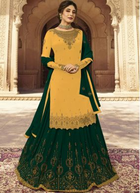Embroidered Yellow Faux Georgette A Line Lehenga Choli