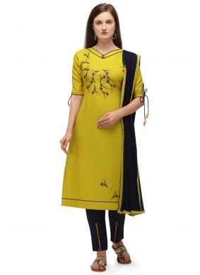 Embroidered Yellow Pant Style Suit