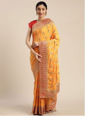 Embroidered Yellow Poly Silk Traditional Designer Saree
