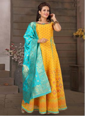 Embroidered Yellow Readymade Anarkali Suit