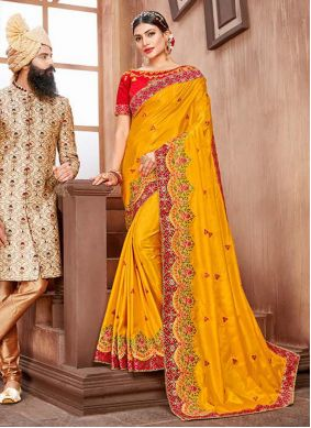 Embroidered Yellow Silk Bollywood Saree