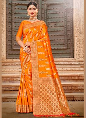 Embroidered Yellow Silk Saree