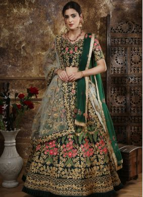 Energetic Green Satin Silk Designer Lehenga Choli