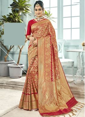 Energetic Red Wedding Traditional Saree