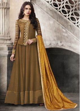 Energetic Satin Embroidered Anarkali Suit