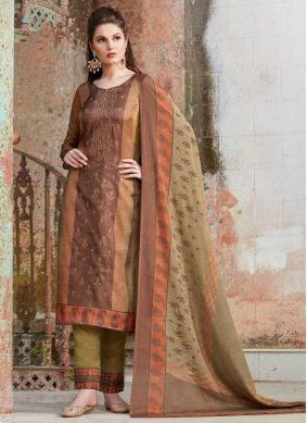 Energetic Tussar Silk Party Pant Style Suit