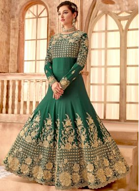 Engrossing Embroidered Bembarg Green Anarkali Salwar Suit