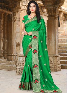 Engrossing Green Embroidered Designer Traditional Saree