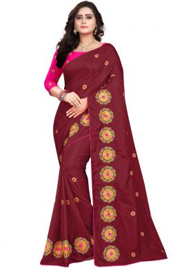 Engrossing Maroon Embroidered Designer Traditional Saree
