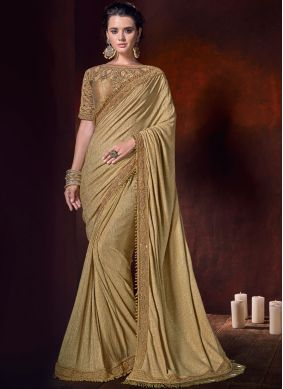 Enthralling Embroidered Beige Fancy Fabric Classic Saree
