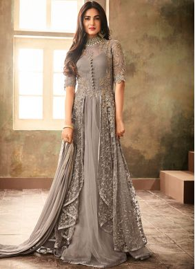 Enthralling Embroidered Net Grey Anarkali Salwar Kameez