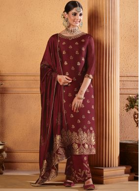 Enthralling Maroon Embroidered Jacquard Designer Palazzo Suit