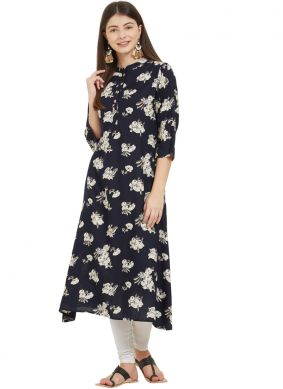 Enthralling Rayon Print Party Wear Kurti