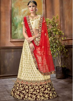 Enticing Cream Embroidered Satin Trendy Lehenga Choli