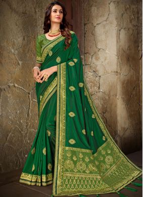 Enticing Embroidered Art Silk Trendy Saree