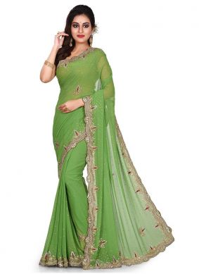 Enticing Embroidered Green Designer Traditional Saree