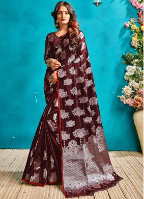 Enticing Maroon Woven Art Silk Traditional Designer Saree