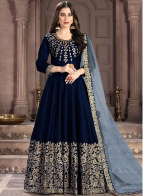 Enticing Navy Blue Anarkali Suit