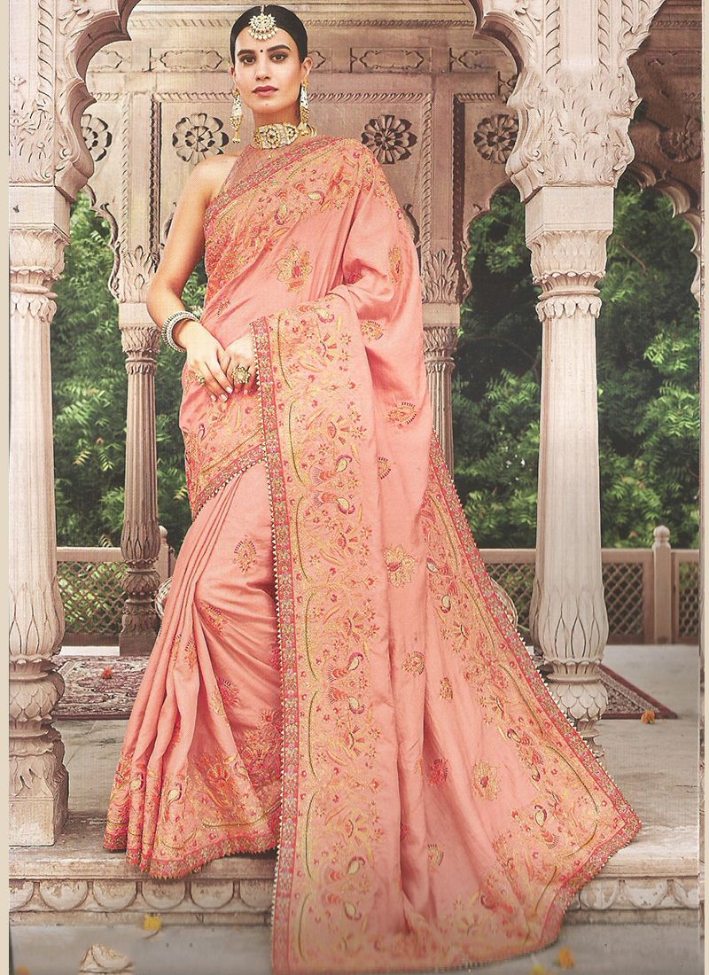 Enticing Peach Party Classic Saree