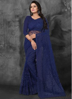 Enticing Resham Blue Net Designer Saree