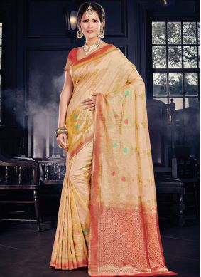 Enticing Yellow Weaving Traditional Designer Saree