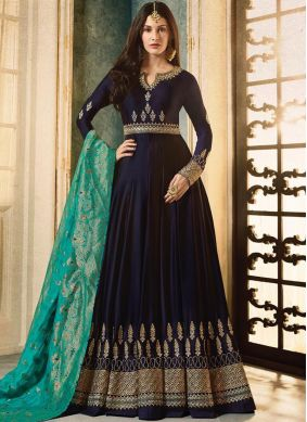 Entrancing Blue Sequins Floor Length Anarkali Suit
