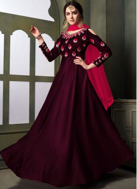 Entrancing Embroidered Maroon Tafeta Silk Anarkali Suit