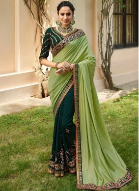 Entrancing Green Patch Border Designer Half N Half Saree