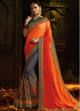 Entrancing Silk Embroidered Orange Half N Half Trendy Saree