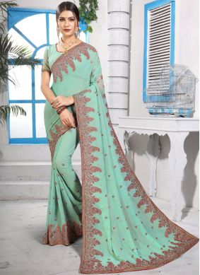 Entrancing Stone Georgette Green Classic Saree