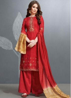 Epitome Embroidered Cotton Red Designer Palazzo Salwar Kameez