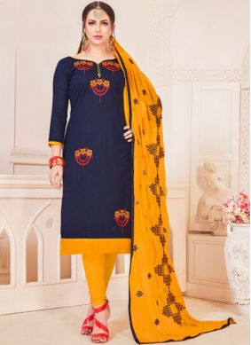 Epitome Embroidered Navy Blue Churidar Suit