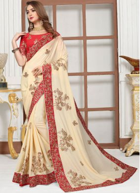 Epitome Satin Cream Zari Classic Saree