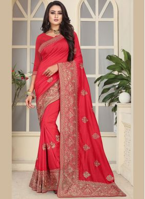 Especial Embroidered Art Silk Traditional Designer Saree