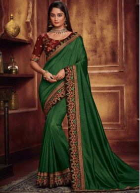 Especial Embroidered Fancy Fabric Green Traditional Designer Saree