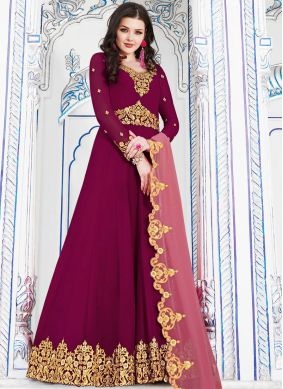 Especial Georgette Hot Pink Embroidered Anarkali Salwar Kameez