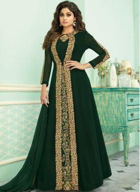 Especial Green Georgette Anarkali Suit