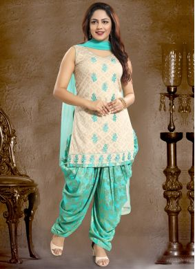 Ethnic Embroidered Cotton   Aqua Blue Punjabi Suit