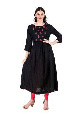 Ethnic Rayon Embroidered Party Wear Kurti
