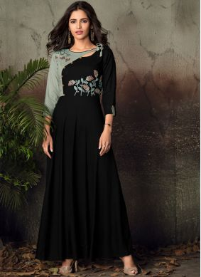 Exceeding Black Embroidered Rayon Party Wear Kurti