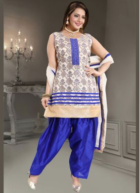Exceeding Fancy Banglori Silk Blue and White Readymade Suit