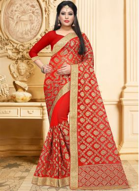 Exceeding Resham Faux Georgette Red Classic Designer Saree