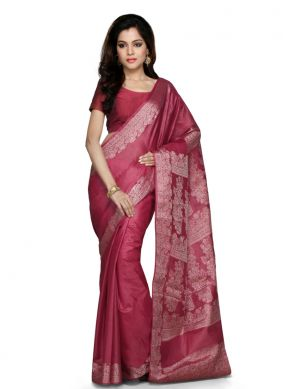 Exceeding Weaving Art Banarasi Silk Maroon Designer Traditional Saree