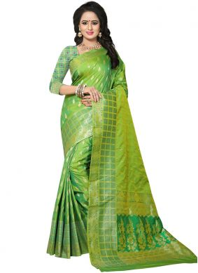 Exceeding Weaving Green Designer Traditional Saree