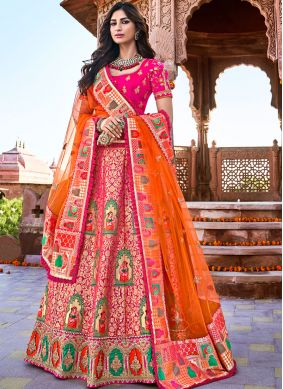 Excellent Banarasi Silk Pink Embroidered Trendy A Line Lehenga Choli