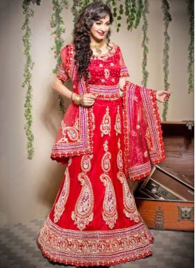 Excellent Embroidered Net Designer Lehenga Choli