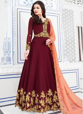 Excellent Georgette Maroon Anarkali Salwar Suit