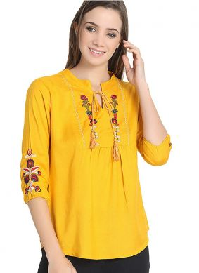 Excellent Mustard Embroidered Rayon Casual Kurti