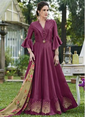 Exceptional Embroidered Art Silk Designer Gown