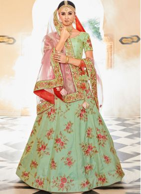 Exceptional Resham Sea Green Art Silk Lehenga Choli